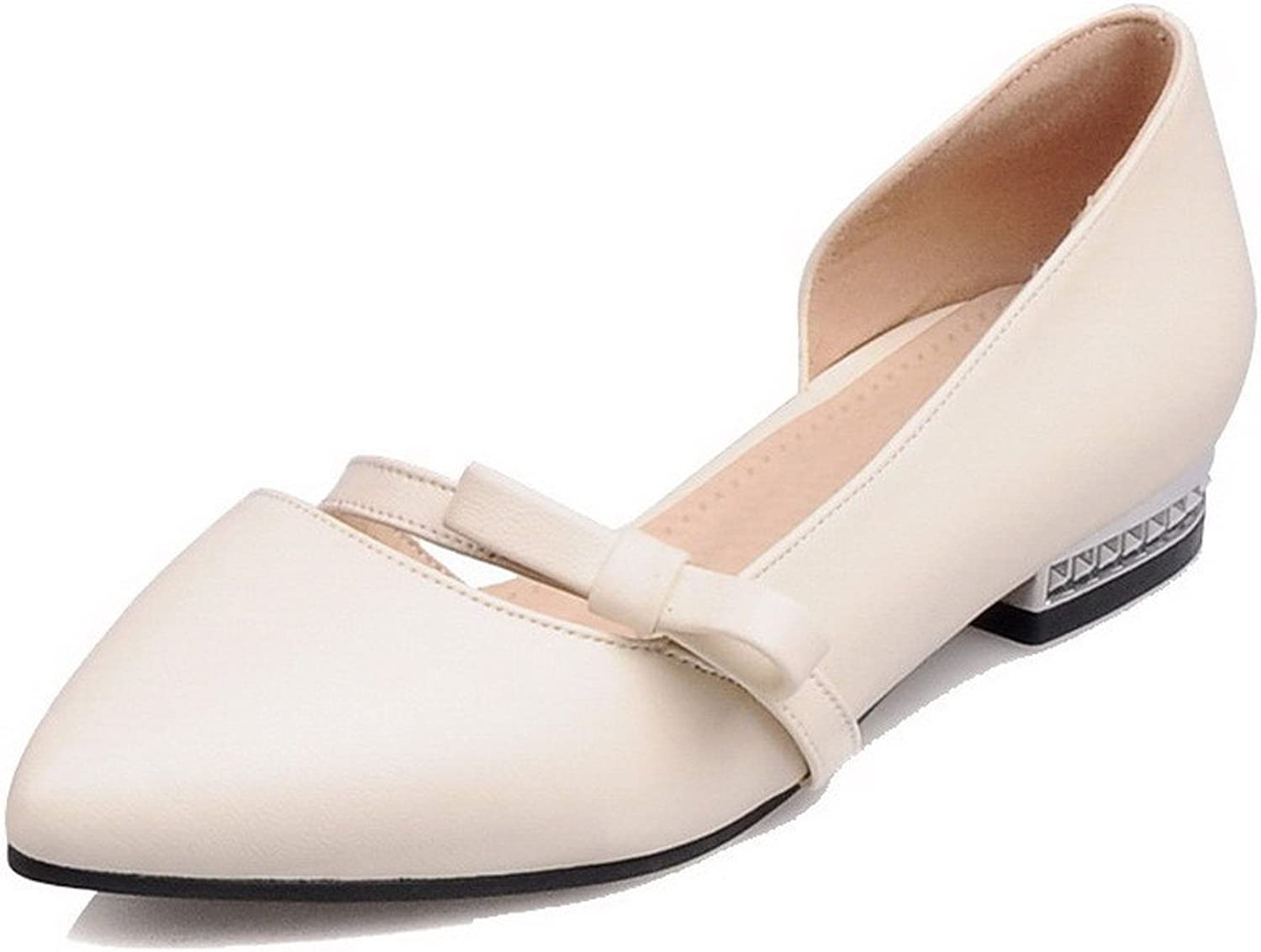 AmoonyFashion Women's Pull-On PU Closed-Toe Low-Heels Solid Pumps-shoes