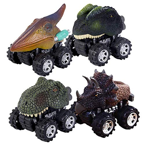 AIPAO Pull Back Vehicles, 4 Pack Dinosaur Cars Toys Truck for 3-12 Year Old Kids Greative Gifts