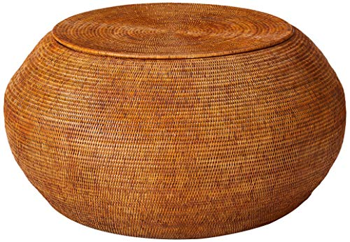 KOUBOO La Jolla Round Rattan Storage Coffee Table, Honey-Brown