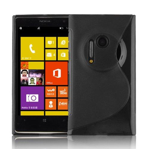 Cadorabo DE-101508 - Custodia per Nokia Lumia 1020, in Silicone TPU Flessibile, Design S-Line, Colore: Nero