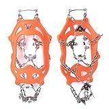 SALUTUYA Tacos de tracción de 19 Dientes Empuñaduras de Hielo y Nieve Cubierta de Zapatos(19 Teeth Orange, L)