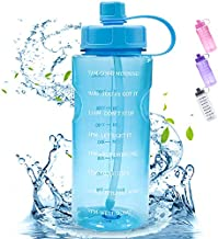 Large Motivational 64 OZ Water Bottle with Straw Time Marker, Reusable Marked Half Gallon Water Bottles Leak Proof for Gym Hiking Camping, Wide Mouth Sports Water Bottle BPA Free for Men & Women