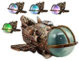Ebros Vintage Design Armadeus Steampunk Spaceship Statue with LED Night Light 10' Long Science Fiction Steampunk Space Exploration Mission Spacecraft