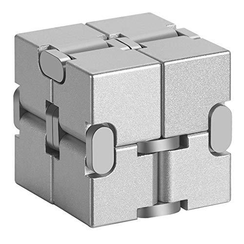 Infinity Cube, Unendlicher Würfel Spielzeug, Unendlicher Würfel Spielzeug Aluminium Infinity Fidget Cube Puzzle Box Design Anti-Stress, Für Anxiety Autism ADD ADHD Kinder/Erwachsene Silber,Silver