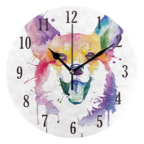 Reloj de Pared Redondo,25cm Decorativo de la Pared Relojes ,Silenciosos de Cuarzo Que Funcionan con Pilas Reloj Colgante (Perro Acuarela)