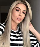 Chantiche Natural Looking Dark Roots Long Ombre Blonde Wig Straight Hair Synthetic Lace Front Wigs UK for Women Side Part Heat Resistant Fiber 22 Inches
