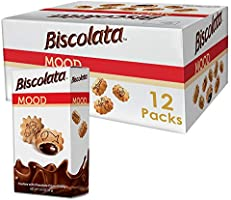 Biscolata Mood Cookies with Chocolate Filling Snacks - 12 Packs, Crispy Cookie Shell Filled with Milk Chocolate