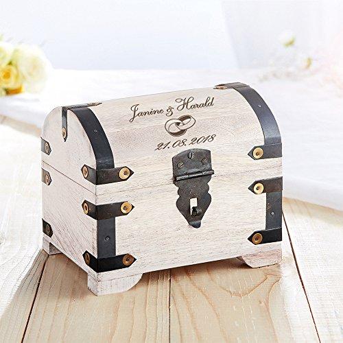 Casa Vivente Schatztruhe mit Gravur zur Hochzeit, Motiv Ringe, Personalisiert mit Namen und Datum, Schmuckkästchen aus weißem Holz, Geldgeschenke - 3