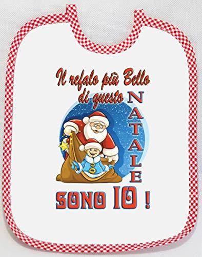 [Passaparola] Bavaglino - Buon Natale - Primo Natale - Il regalo più bello - Merry Christmas - Umoristico - unisex pappa - Made in Italy (azzurro) (Il regalo più bello)