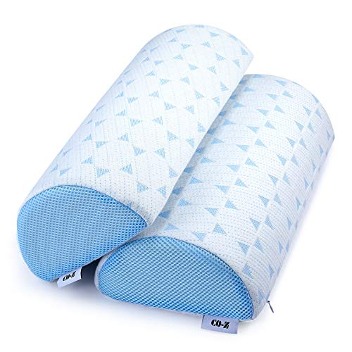 CO-Z Bolster Pillow for Legs - Half Moon Knee Pillow and Lumbar Support - Pack of 2 Memory Foam Pillow