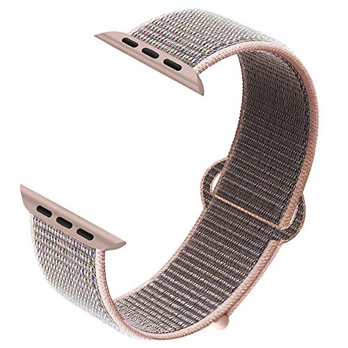 NUKELOLO Compatible for Apple Watch Band 40mm, Sport Nylon Loop for iWatch Sport Series 5/4/3/2/1 [Pink Sand Band 40MM]