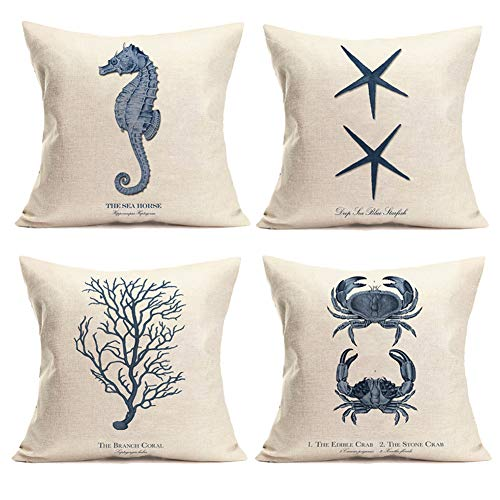 Qinqingo Ocean Nautical Theme Set of 4 Cotton Linen Marine Life Blue Seahorse Crab Coral Starfish Throw Pillow Cases Couch Sofa Home Decorative Cushion Cover 18'x18' (GQ002)