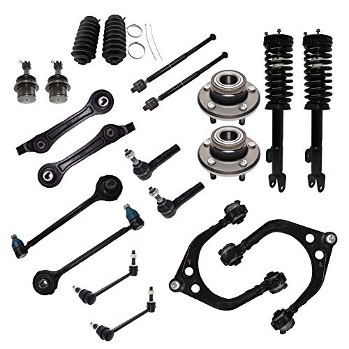 Detroit Axle - 20pc Front Control Arms w/Ball Joints, Wheel Hub Bearings, Struts, Inner Outer Tie Rods w/Boots, Sway Bars Replacement for 05-10 300 - [06-09 Dodge Charger] - 05-08 Magnum - 2WD Ex. SRT