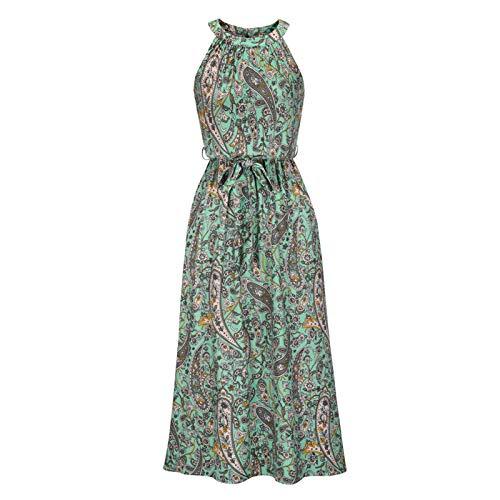 2021 Falda Larga Vestido de Falda Estampado Casual Floral Retro de Moda para Mujer Falda para Danza, Larga, con Vuelo, para Mujer, Casual más tamaño Suelto Elegante Vestido