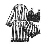 Pyjama Damen Streifen Satin Schlafanzug Dreiteiliger Anzug Spitzenkante Hose und Dessous Nachthemd Set Sleepwear Set Sleepshirt