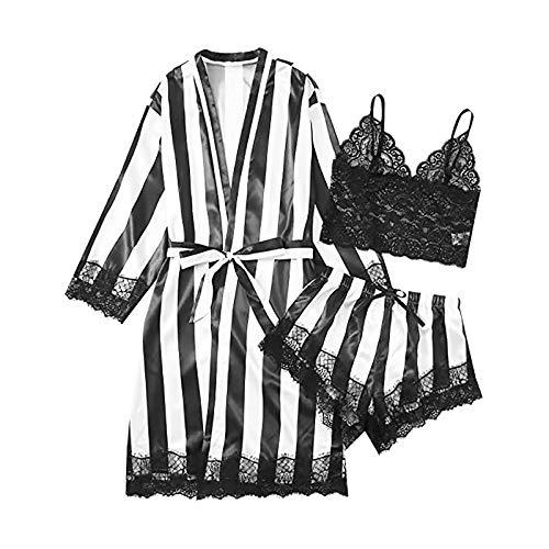 2021 3pcs Lencería Erotica de Mujer, Mujeres Sexy Ropa de Dormir Bata de baño Larga Camisón Perspectiva de Encaje de lencería Hueca Babydoll Traje Especias Tentación Ropa de Dormir Pijamas Camisones