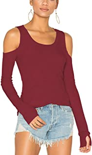 Mippo Womens Long Sleeve Workout Tunic Yoga Shirt Athletic Blouse Cold Shoulder Top