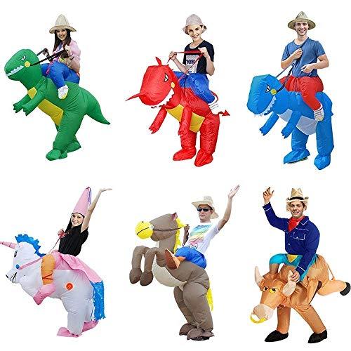 KHTO Erwachsene Halloween-Kostüme aufblasbare Einhorn-Kostüme Fahren auf die Himmel-Pferdeluft, die Kleidung lustige Kostüme sprengt