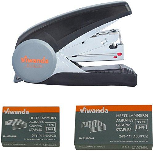 Viwanda Vi-Lite Tacker/Heftgerät, geringer Kraftaufwand und flache Klammerung, für ein reibungsloses und müheloses tackern, 40 Blatt, mit je 1 Box 24/6mm und 1 Box 26/6mm Heftklammern