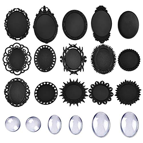 DROLE 30Pcs Black Cabochon Brooch Settings-15Pcs Brooch Pins Trays with Cabochon DIY Jewelry Making Findings 3 Size