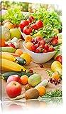 Buntes Obst und Gemüse , Format: 60x40 auf Leinwand, XXL