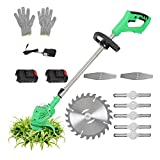 Cordless String Trimmer/ Edger Weed Wacker Eater Battery-Powered Electric Stringless Lawn Trimmer, Electric Lawn Mover with 2.0 Ah Battery and Charger