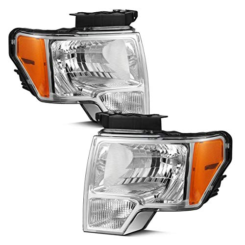 Partsam Headlight Assembly Compatible with Ford F-150 F150 2009 2010 2011 2012 2013 2014 Side Left Right Replacement Headlamp Chrome Housing Amber Corner Reflector Lamps (Driver and Passenger Side)