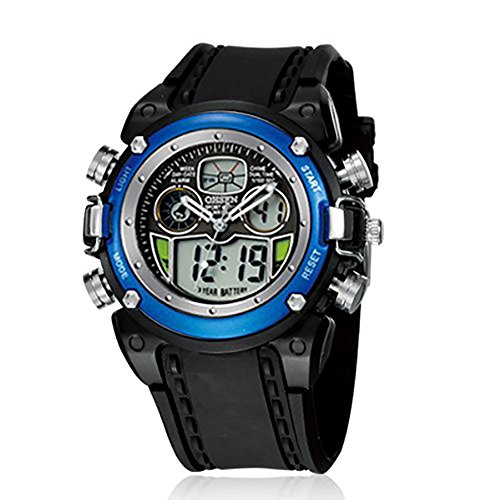 Ohsen Mens Digital Sport Watch With Blue Case Black Band