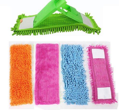 Tête de balai à franges en velours chenille épais vert : recharge de tissu microfibre facile à laver 40 x 12 cm