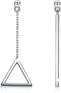 SIMPLOVE 925 Sterling Silver Triangle Vertical Bar Dangle Earrings for Women Asymmetrical Girl's Gift Jewelry