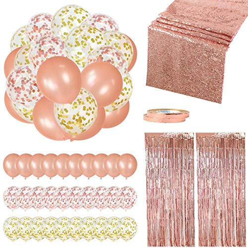Ybzx 35Pcs/Set Rose Gold Birthday Party Wedding Home Decoration Kit Balloons Tinsel Curtain Baby Shower Christmas Hen Party Balloons-35pcs Set