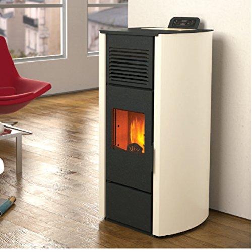 Estufa de pellets punto fuego Nicole canalizable 13 kW – Profundidad 55,6 cm marfil