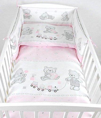 BABYLUX Kinderbettwäsche 2 Tlg. 90 x 120cm Bettwäsche Bettset Babybettwäsche (71. Bär Cookie Rosa)