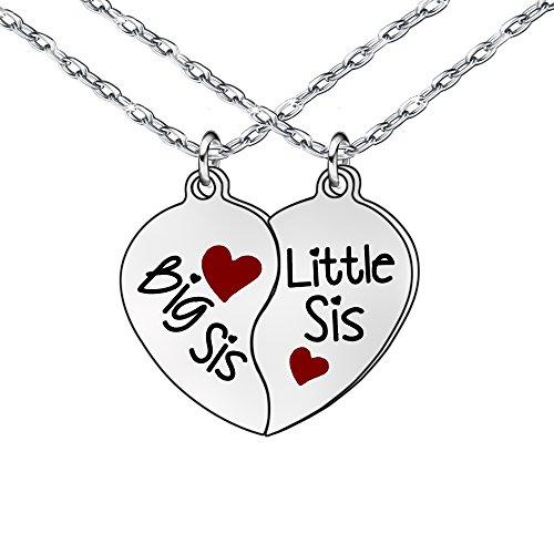 """2-teiliges Herzketten-Set mit englischer Aufschrift """"Big Sis"""" und """"Lil Sis"""" für Freundinnen/Schwestern, Geschenkidee für Frauen/Mädchen"""