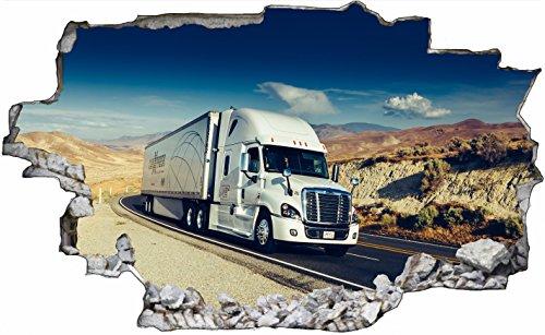 DesFoli Truck LKW 3D Look Wandtattoo 70 x 115 cm Wanddurchbruch Wandbild Sticker Aufkleber C260