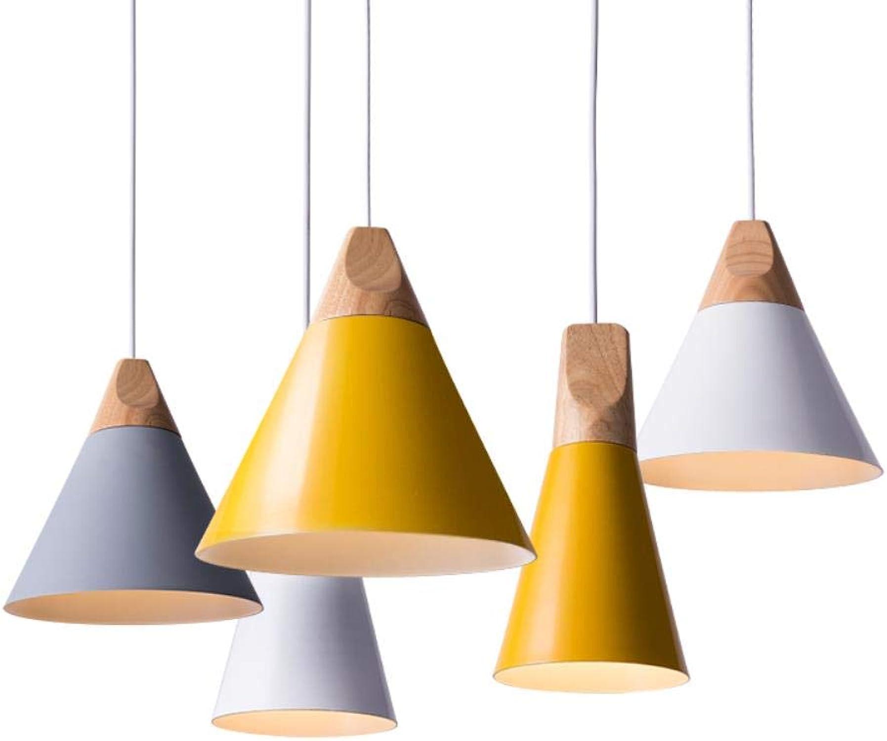 Moderne Nordic E27 Suspension en bois pour salle à hommeger, cuisine, restaurant, bar, lumières suspendues blanc petit