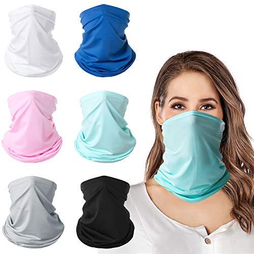 queensecret Gaiters for Women/Men 6 Pieces Breathable Summer Face Cover Bandana Sunscreen Balaclavas (Group B)