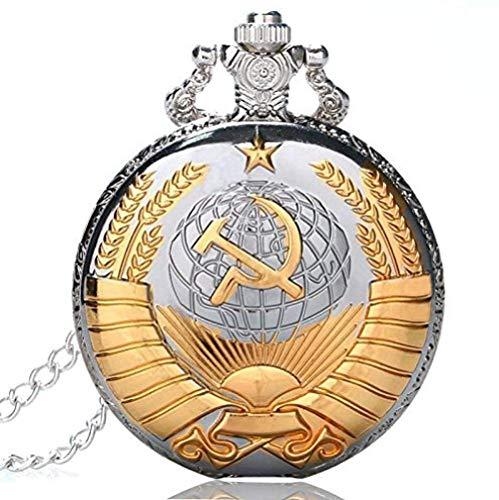 YOUZYHG co.,ltd Reloj de Bolsillo soviético Martillo de Hoz Reloj de Bolsillo de Bolsillo Plata Oro Steampunk Hombres Mujeres Mujeres Regalo