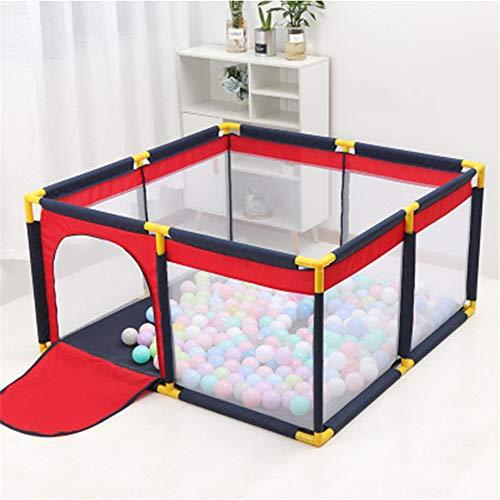 JIASHU Parque Infantil para bebés de Interior ensamblado portátil, Valla Protectora de Seguridad para el hogar con cojín, Rojo Cian, Valla
