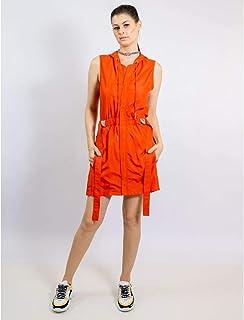 Vestido Curto De Nylon Com Adesivo E Capuz
