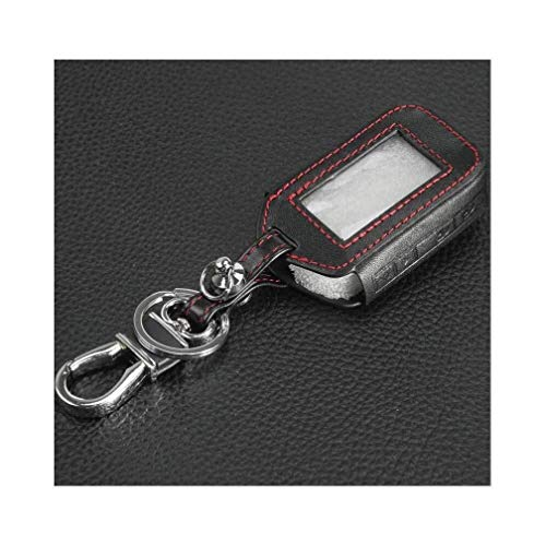 WLKQ Schlüsselanhänger 2-Wege Auto alarmanlage for starline e60 e61 e62 e90 e91 4 Tasten Fernbedienung Leder schlüssel Abdeckung Fall 0814 (Color : Redline)