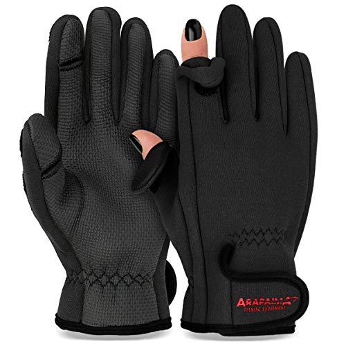 Thermo Angelhandschuhe 'Spin' | Neopren Angel Handschuhe | Anglerhandschuhe | Fishing Gloves - Schwarz - L