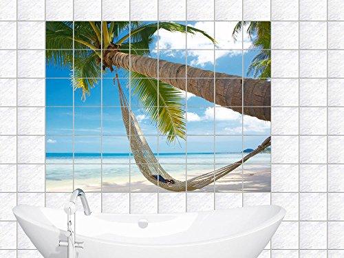 Graz Design 761006_15x15_100 tegelstickers tegels decor voor badkamer keuken folie tegelafbeelding paradijs op aarde palm met zee blik tegelgrootte 15x15cm (aantal tegels = 10 breed en 7 hoog)