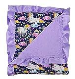 Unique Baby Soft Textured Minky Dot Blanket with Satin Trim, Unicorn Dreams