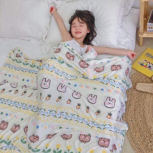Été Simple Cool tricoté Couverture Maternelle climatiseur Sieste Couverture Mince Couverture pour Enfants bébé câlin Couverture-Lapin_120 * 150cm