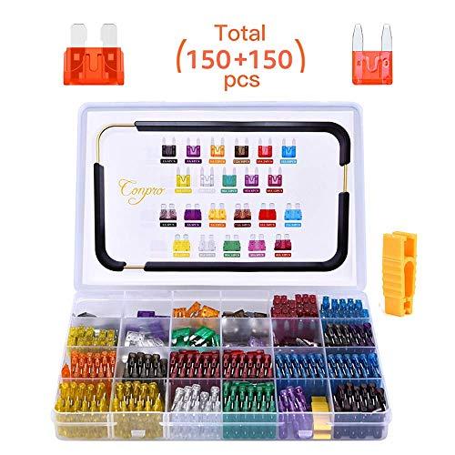 Conpro 150pcs Mini Fusibles Coche + 150pcs Fusibles Coche Mediano - 11 Especificaciones Fusible Coche: 2A 3A 5A 7.5A 10A 15A 20A 25A 30A 35A 40A, con un Pequeño Clip para Reemplazo de Fusibles