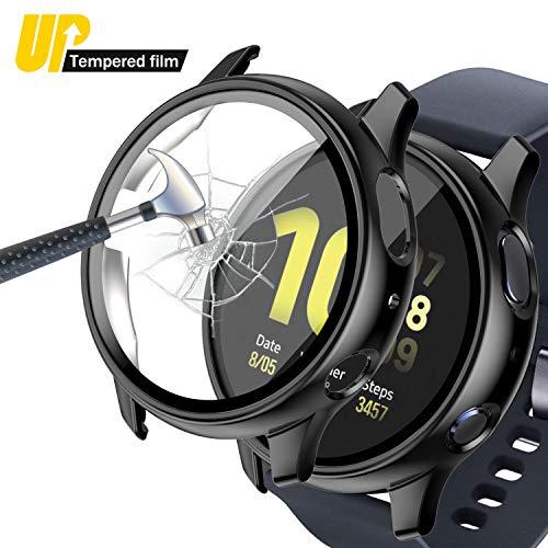 Jvchengxi Custodia Compatibile per Samsung Galaxy Watch Active 2 44mm Pellicola Protettiva, Full Protettivo Caso PC Sottile Case Rigida HD Vetro Temperato Cover per Galaxy Watch Active 2 (Nero)