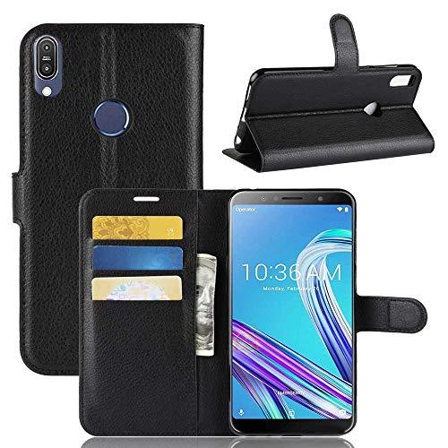 Capa Capinha Carteira Case 360 Para Asus Zenfone Max Pro M1 Zb602kl Tela 6.0Couro Sintético Flip Wallet Para Cartão - Danet (Preta)