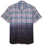 Perry Ellis Men's Dip Dye Plaid Shirt, Coastal fjord-4ESW7025, Extra Extra Large