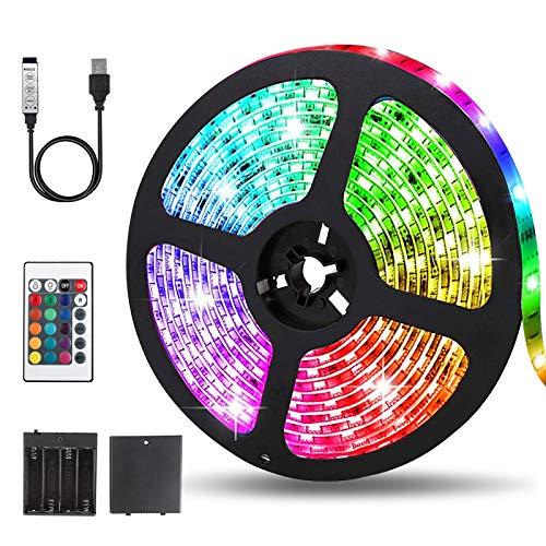 Tira LED de 5 m, SMD 5050 RGB, con mando a distancia + 20 cambios de color, IP65, resistente al agua, para cocina, hogar, dormitorio, TV, fiesta, clase energética A +